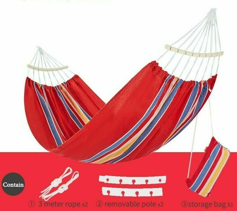 Double Hammock With Removable Stick Outdoor Garden Hanging Chair Portable Bed