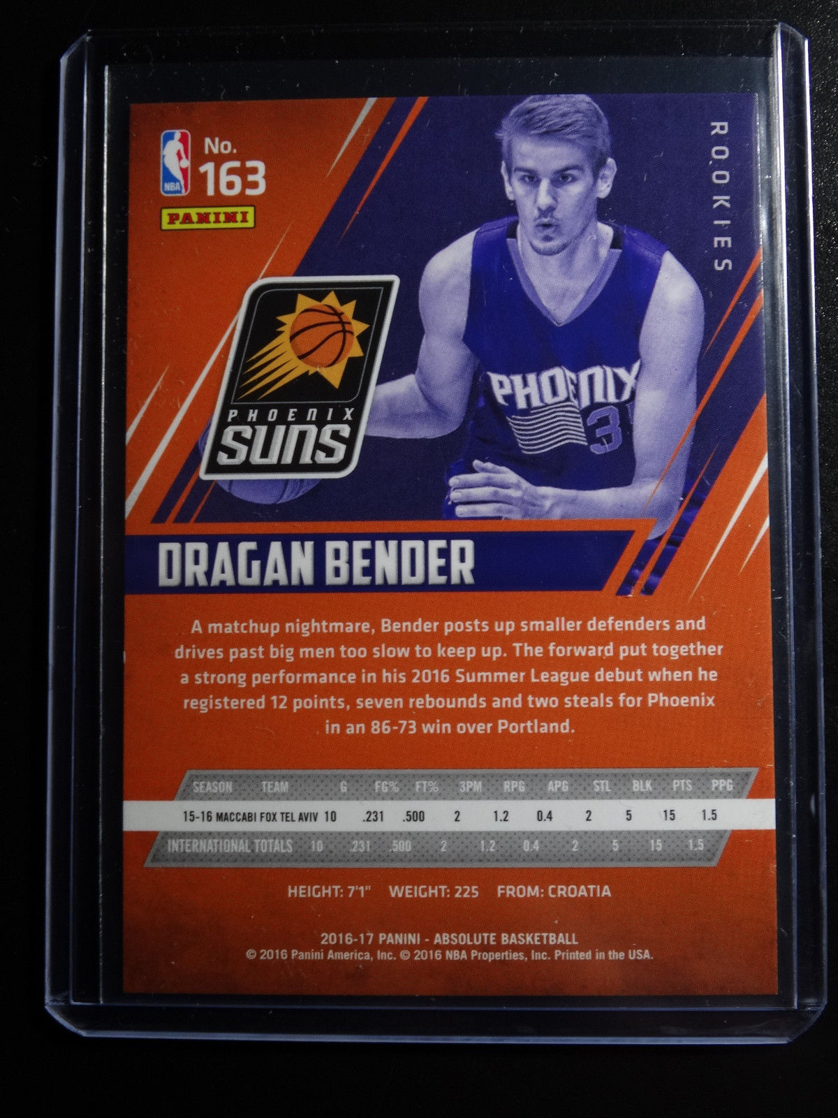 2016-17 Panini Absolute #163 Dragon Bender Phoenix Suns 558/999 Card