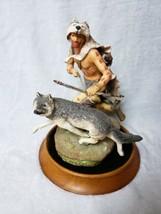 Franklin Mint Wolf Runner Native American Indian Signed Porcelain Sculpture - $118.80