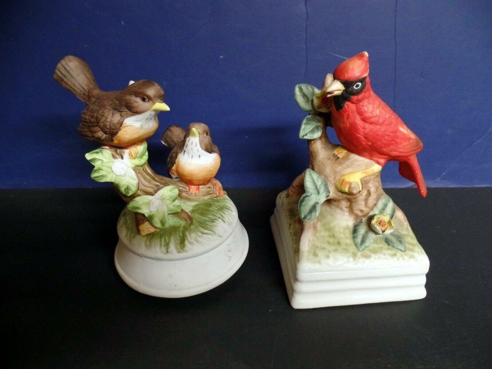Arnart Gorham Bird bisque porcelain music box pair
