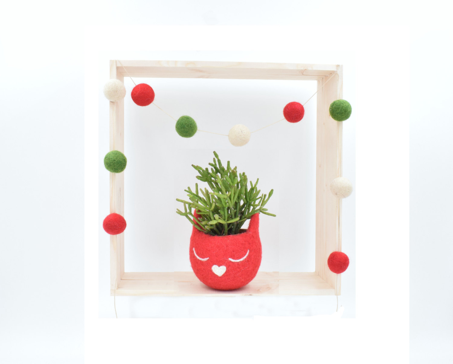 Christmas gift for her / Succulent planter / Felt planter /  Cat head planter /