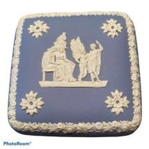 Vintage Wedgwood Blue White Jasperware Square Trinket Box England Greek ... - $29.69