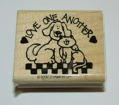 Love One Another Rubber Stamp New Stampin Up Dog Cat Wood Mounted Retired  - $7.91
