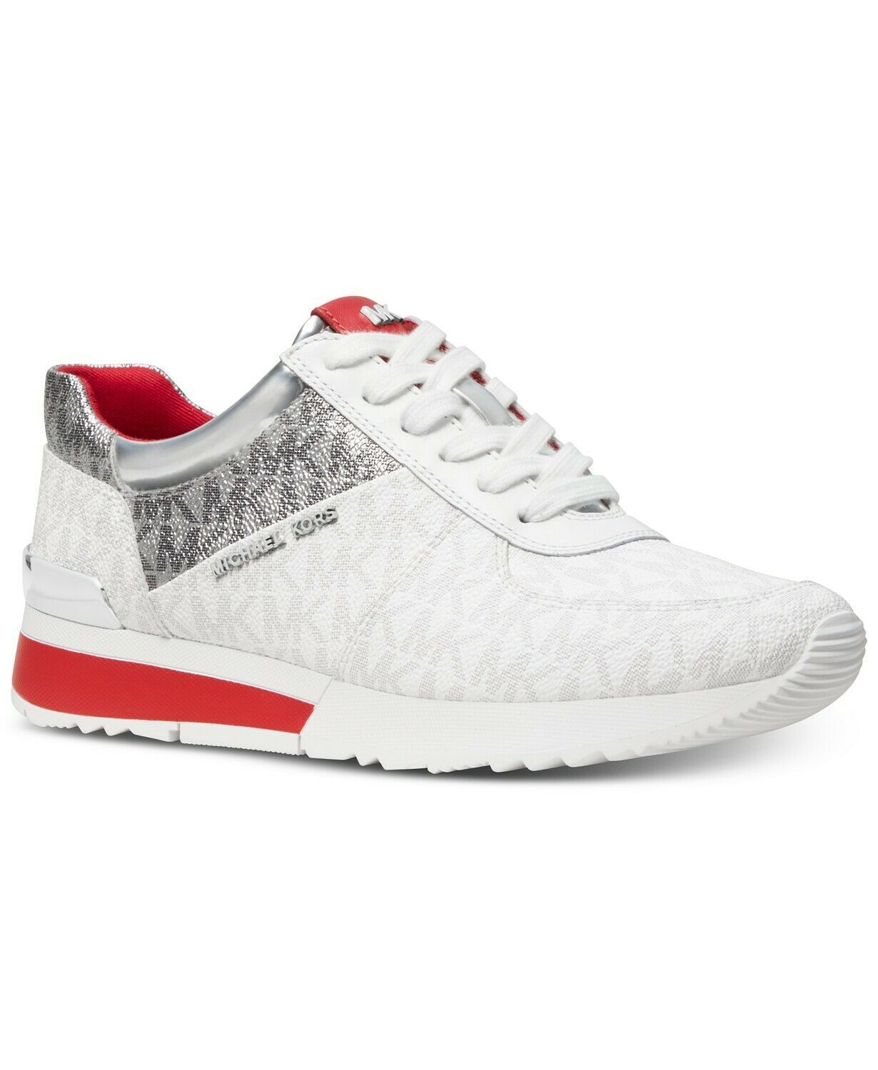 Michael Kors MK Women's Allie Trainer Leather Sneakers Shoes Red/White