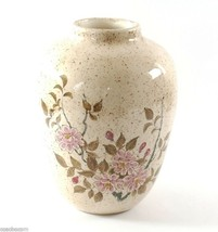 Signed Hand Painted Cherry Blossom Glazed Ceramic Pottery Vase 7-in x 5-in - $9.50