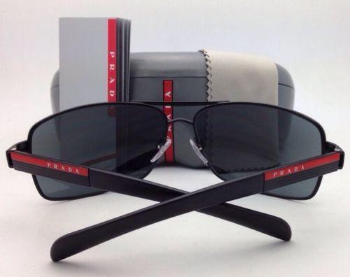 Nuevo Auténtico Prada Gafas de Sol Sps 54I 1BO-1A1 65-14 Negro Mate con / Gris