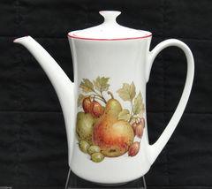 Pontesa Spain Four Cup Coffee Set Pot Sugar and Creamer Fruit Design Red Trim image 3