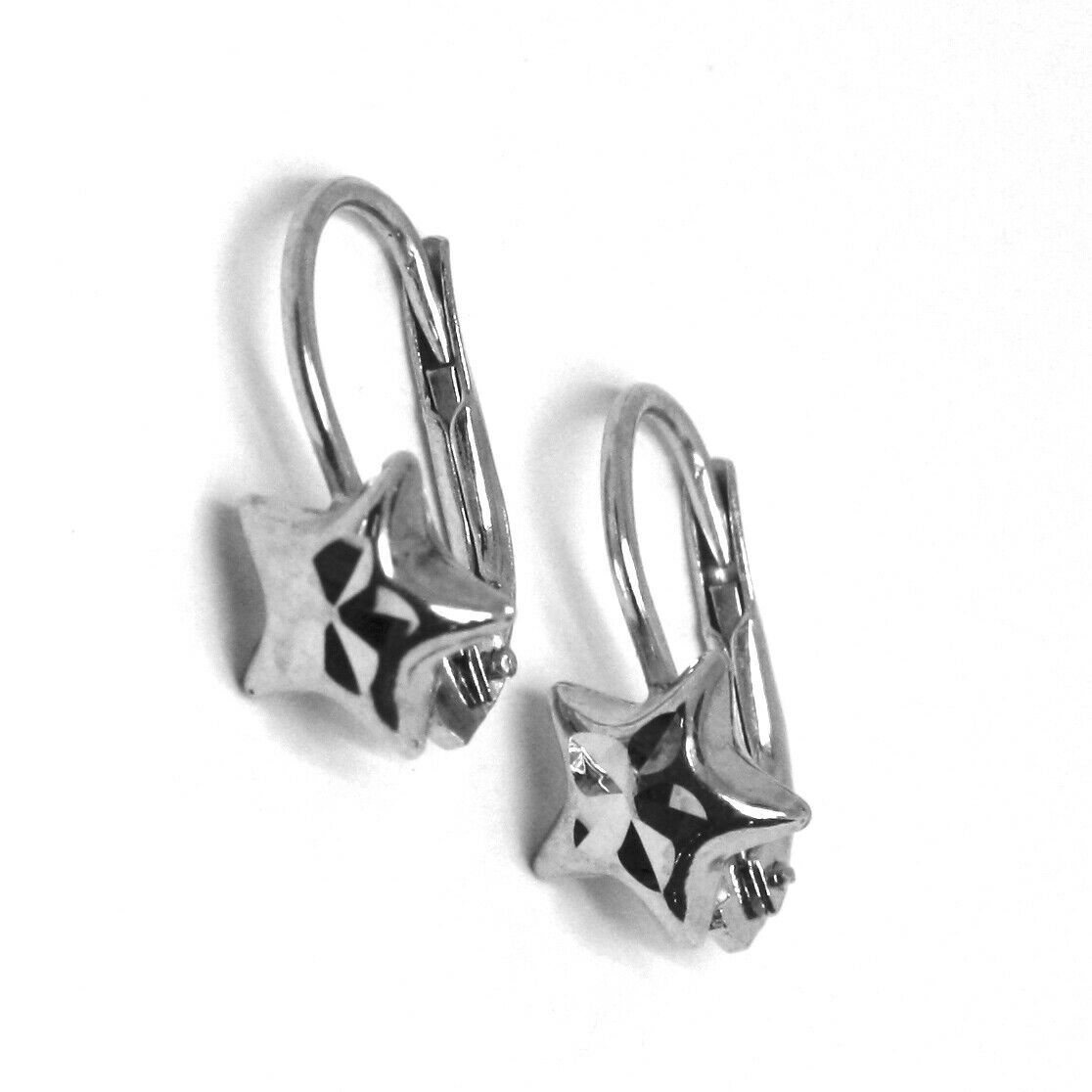18K WHITE GOLD KIDS EARRINGS, HAMMERED STAR, LEVERBACK CLOSURE, ITALY MADE