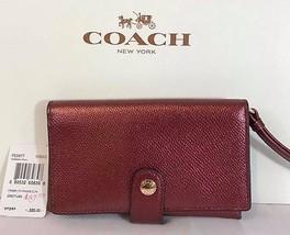 NEW 100% Authentic COACH Crossgrain Leather Phone Clutch Wristlet Wallet... - $51.26