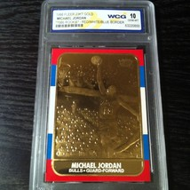 1986 Michael Jordan Fleer Carta Rookie ( Rojas/Blanco / Azul) 23KT Oro G... - $19.60