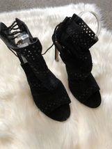 New $280 Dolce Vita Mia Black Mid Calf Laser Cut Boots Heels Size 7.5 /& 9