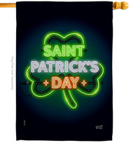 Saint Pat Neon - Impressions Decorative House Flag H137313-BO - $36.97
