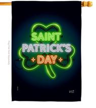 Saint Pat Neon - Impressions Decorative House Flag H137313-BO - $36.97
