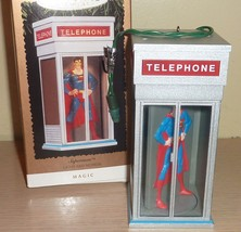 1995 Hallmark Ornament ~ Light and Motion ~ Superman in Telephone Booth - $17.82
