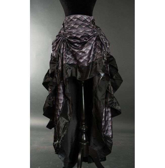 Gray Dragon Scale Ruffle Trim Corset Back Long 3 Layer Victorian Goth Skirt