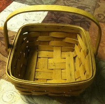 Longaberger Vintage Basket Handwoven With Handle Signed PW - $9.90