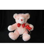 """TB TRADING PINK BEAR WITH RED HEARTS & BOW PLUSH TOY 13"""" - $26.73"""