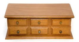 Vintage Wooden Dresser Jewelry Chest Box 1 Drawer Open Top Mirror - $19.31