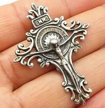 925 Sterling Silver - Vintage INRI Jesus Piece Cross Slide Pendant - P4956 - $39.02