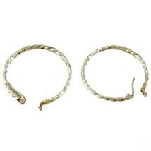 "925 Sterling Silver 1-1/2"" 1.5"" Twisted Hoop Latch Back Earrings 3.5g image 2"