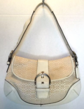 COACH 6808 Signature C Off White Leather Trim Shoulder Bag Handbag Purse - €24,90 EUR