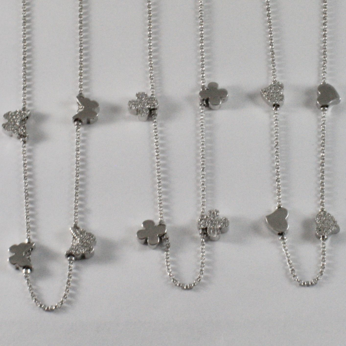 925 STERLING SILVER NECKLACE JACK&CO WITH FOUR-LEAF CLOVER HEART 0,5 BUTTERFLY