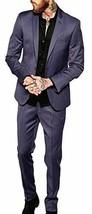 Mens Slim Fit Skinny Formal Wear Dark Grey 2 Piece Tuxedo Suit image 2