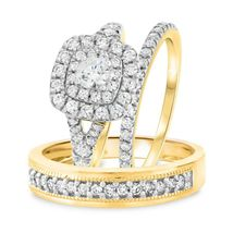 Womens Engagement Ring & Mens Womens Wedding Band Trio Ring Set 925 Soli... - $134.15