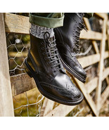 New Handmade Dark Brown Ankle High Leather Wing Tip Brogue Boots For Men's - $159.97+