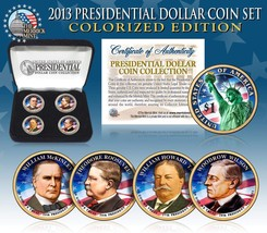 2013 USA MINT COLORIZED PRESIDENTIAL $1 DOLLAR 4 Coins Set with box  - $21.03