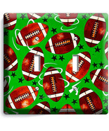 AMERICAN FOOTBALL RUSTIC BALLS DOUBLE LIGHT SWITCH WALL PLATE BOYS BEDRO... - £7.29 GBP