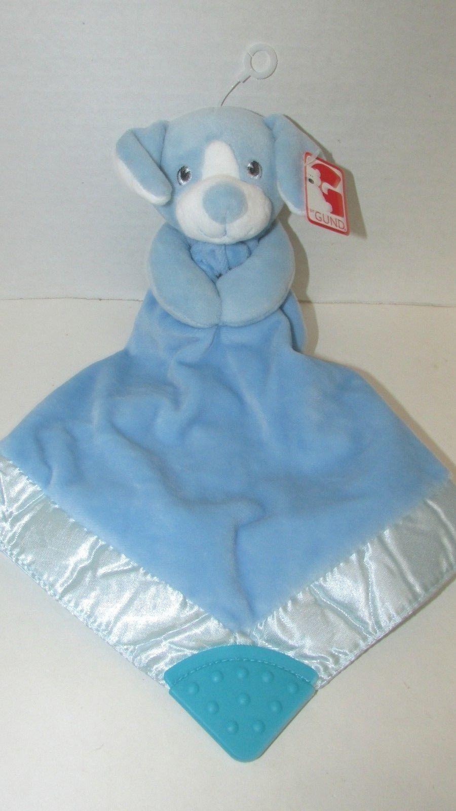 NWT Gund Blue Puppy Security Blanket Teether Velour Satin Lovey Toy 4061586