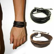 Fashion Women/Men Surfer Tribal Wrap Multilayer Genuine Leather Cuff Bracelet - $10.95