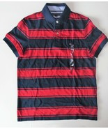 Tommy Hilfiger Mens Polo Striped Short Sleeve Shirt Red Blue Size XSmall... - $38.79