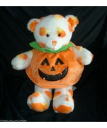 BUILD A BEAR HALLOWEEN CANDY CORN WHITE PUMPKIN TEDDY STUFFED ANIMAL PLU... - $30.20