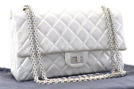 CHANEL Lamb Skin Matelasse 25 Shoulder Bag Silver sa700 - $2,980.00