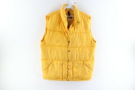 Vtg 80s The North Face Mens Large Distressed Down Fill Puffer Vest Yello... - $89.05