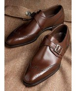 Men's Handmade Brown Leather Shoes, Men's Wing Tip Monk Strap Shoes - $144.99+