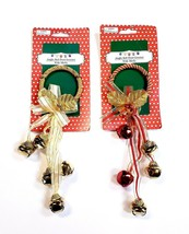 "Christmas Holiday Jingle Bell Door Knob Hangers Red & Gold W/ Bells 11"" ... - $11.69"