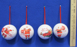 Coca Cola Coke Collectible Christmas Ornaments Metal Ball 2008 Set of 4 - $14.84