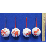 Coca Cola Coke Collectible Christmas Ornaments Metal Ball 2008 Set of 4 - $14.84