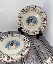 "SNOWMAN SERENADE SET OF 3 SALAD PLATES, 7 1/2"" WIDE, CHRISTMAS, DINNERWARE - $5.94"