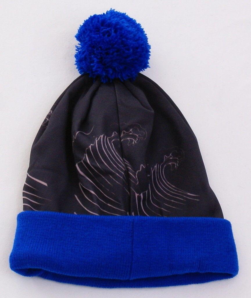 80b15a33400 Hurley Skeleton Blue Knit Cuff Pom Pom Beanie Skull Cap Youth Boy s 8-20 NWT