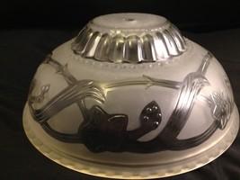 Vtg Glass Shade Art Deco Chandelier Ceiling Light Fixture Flowers- Beaut... - $88.11