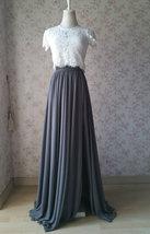 DUSTY BLUE Split Maxi Skirt Dusty Blue Bridesmaid Maxi Chiffon Skirt image 6