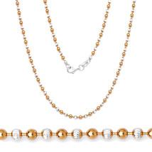 2.5MM Femmes Unique Argent 925 14K Rg Perle Boule Lien Diamant Coupe Col... - £55.35 GBP+