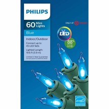 Philips 60ct Christmas LED Smooth Mini String Lights Blue Green Wire NEW image 2