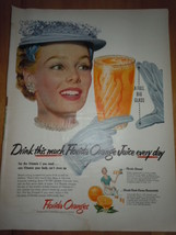 Vintage Florida Orange Juice Lady with Blue Hat Print Magazine Advertise... - $6.99