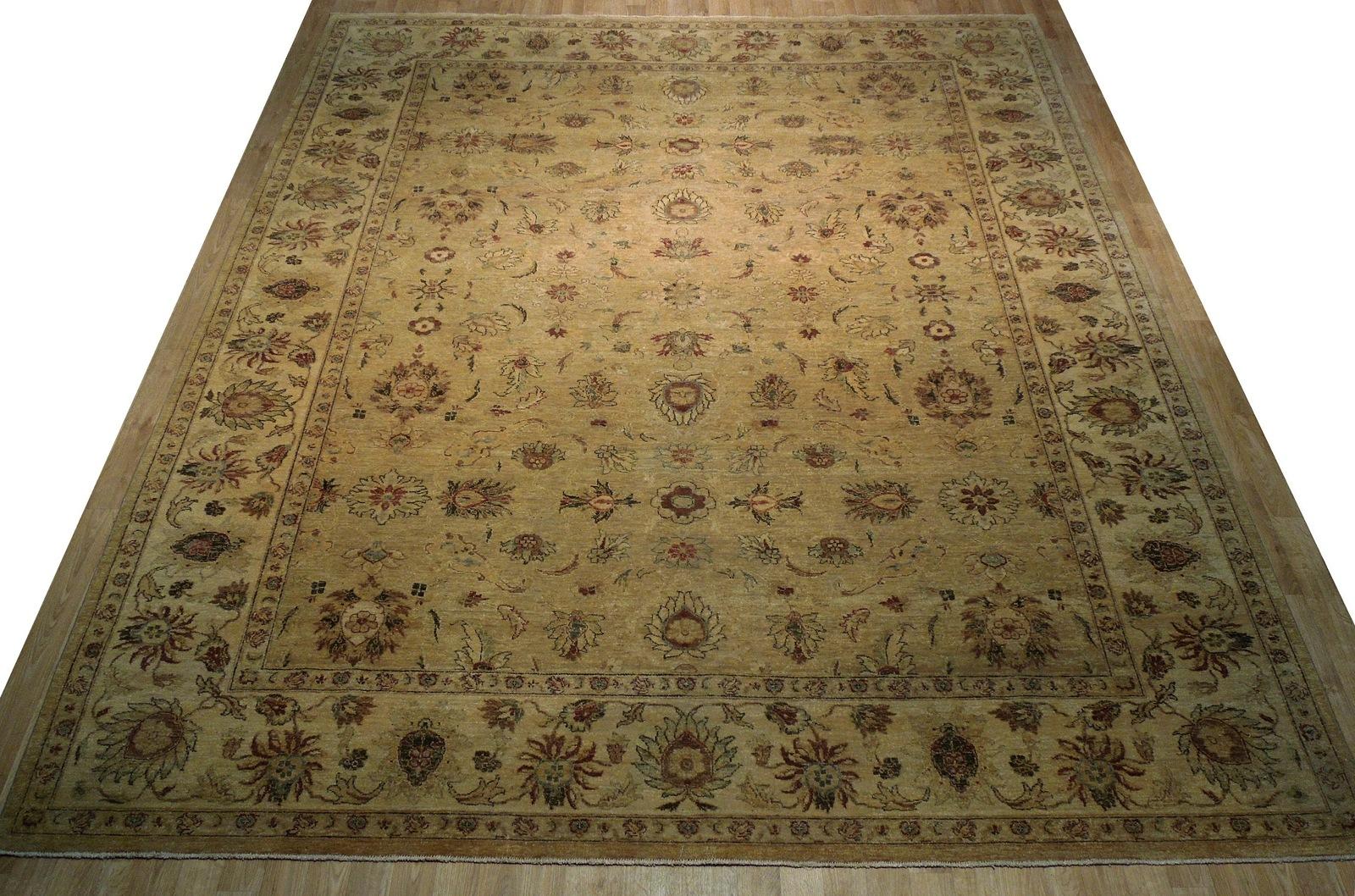 Honey Gold Wool Carpet 9' x 12' New Original Ziglar Oushak Hand-Knotted Rug