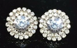 VTG Silver Tone Clear Rhinestone Art Deco Style Circle Stud Flower Clip Earrings - $29.70